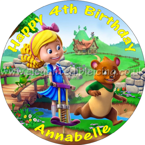 GOLDIE AND BEAR CAKE TOPPER PERSONALISED EDIBLE BIRTHDAY CAKE TOPPER